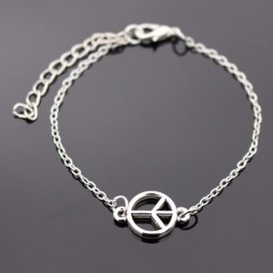 Dainty Silver Peace Sign Charm Bracelet